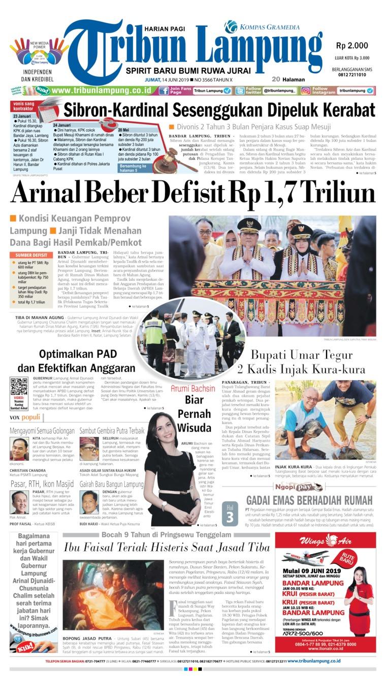Tribun Lampung Digital Newspaper 14 June 2019