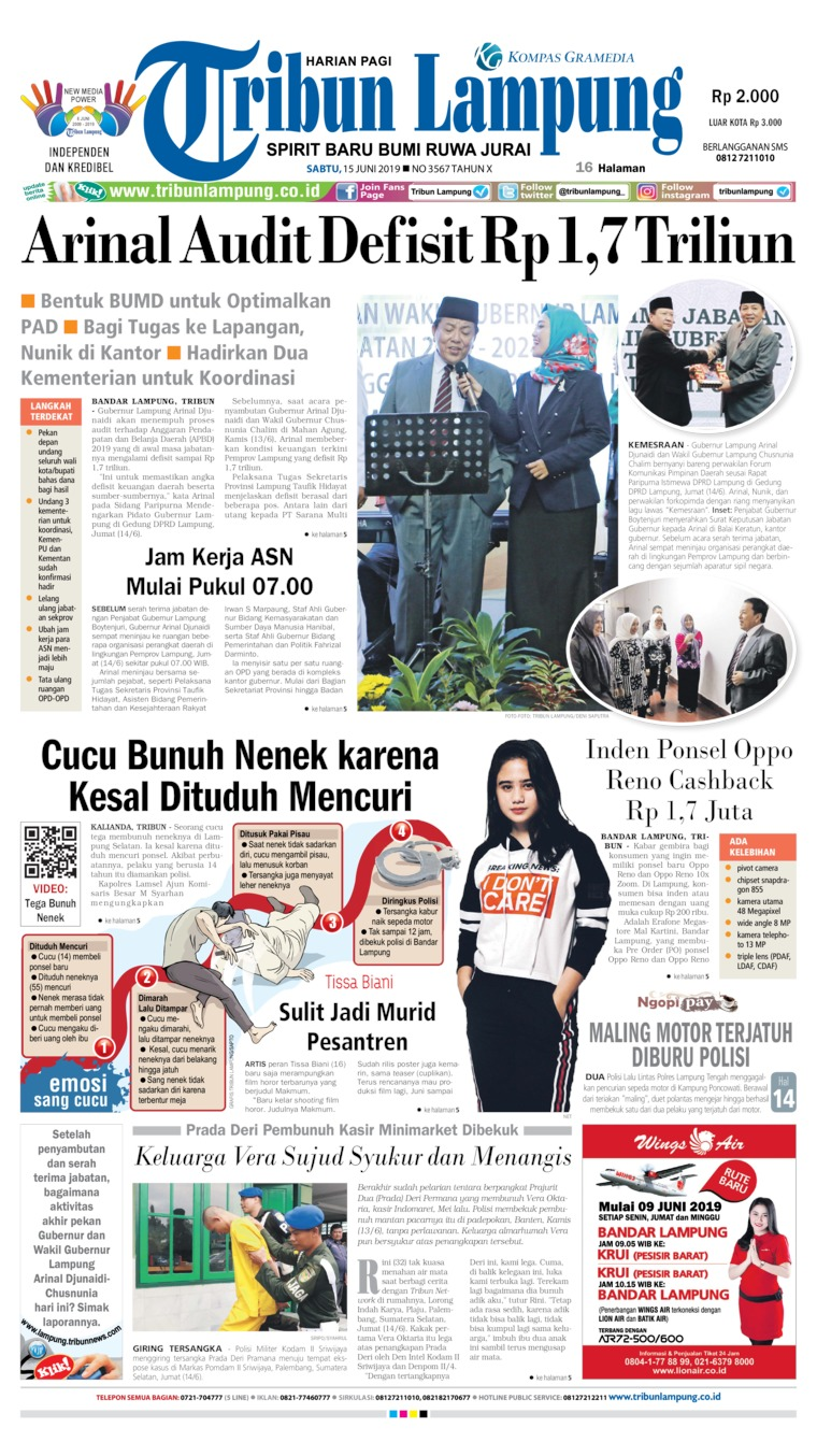 Tribun Lampung Digital Newspaper 15 June 2019