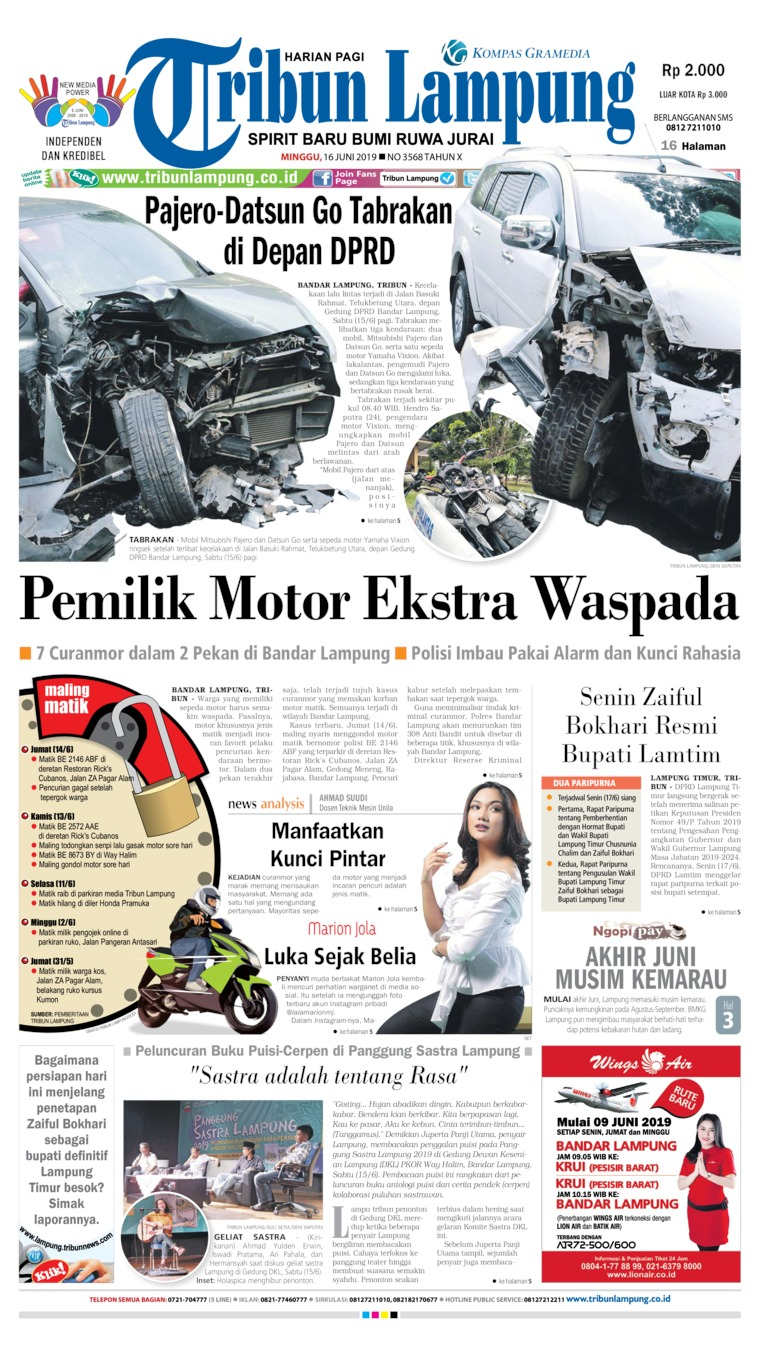 Tribun Lampung Digital Newspaper 16 June 2019