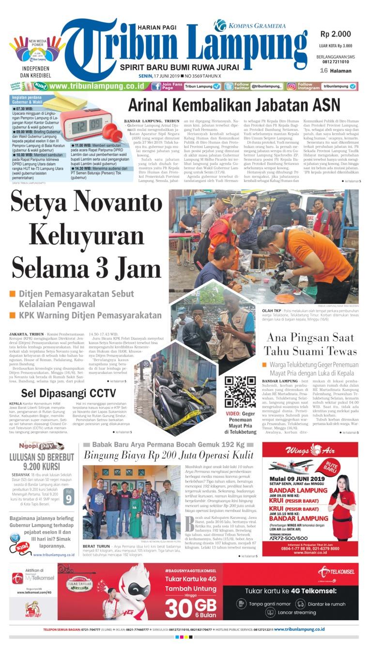 Koran Digital Tribun Lampung 17 Juni 2019