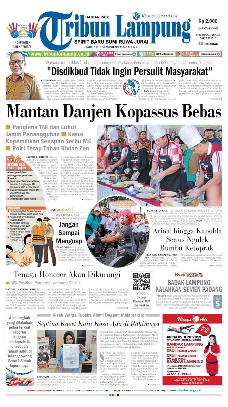 Koran Digital Tribun Lampung 22 Juni 2019