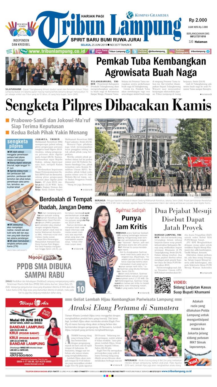 Koran Digital Tribun Lampung 25 Juni 2019