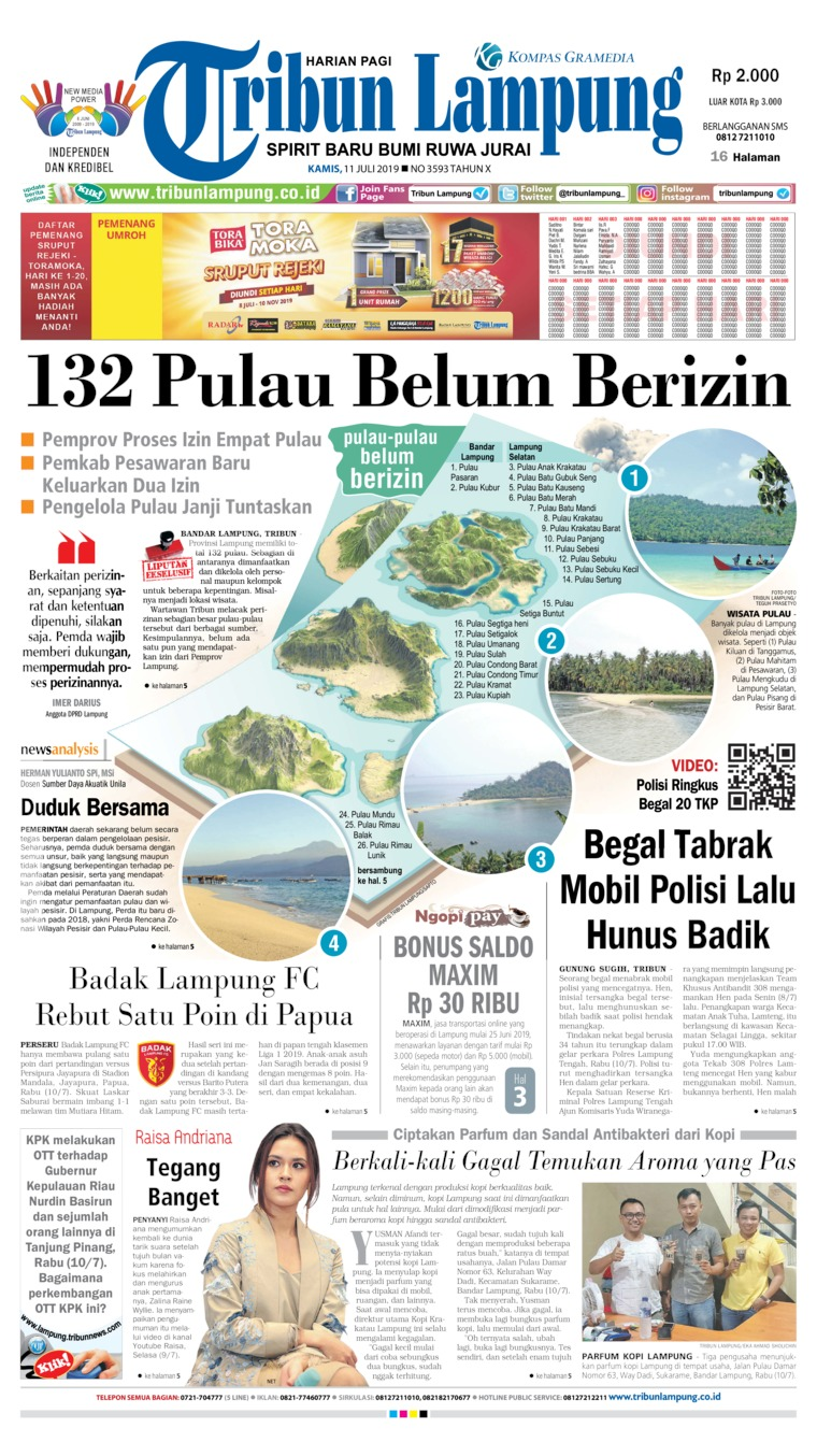 Tribun Lampung Digital Newspaper 11 July 2019