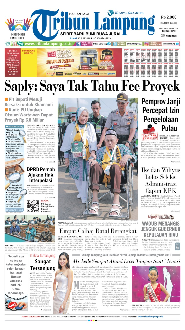 Tribun Lampung Digital Newspaper 12 July 2019