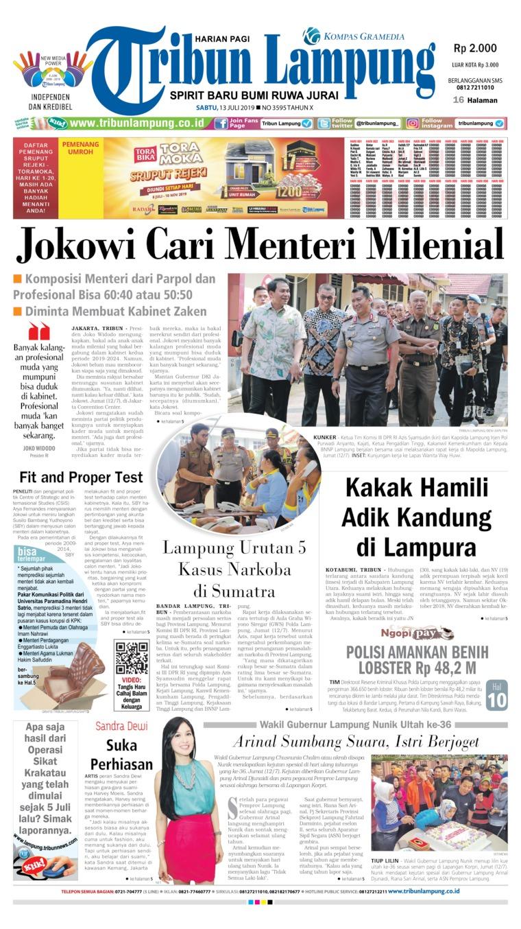 Tribun Lampung Digital Newspaper 13 July 2019