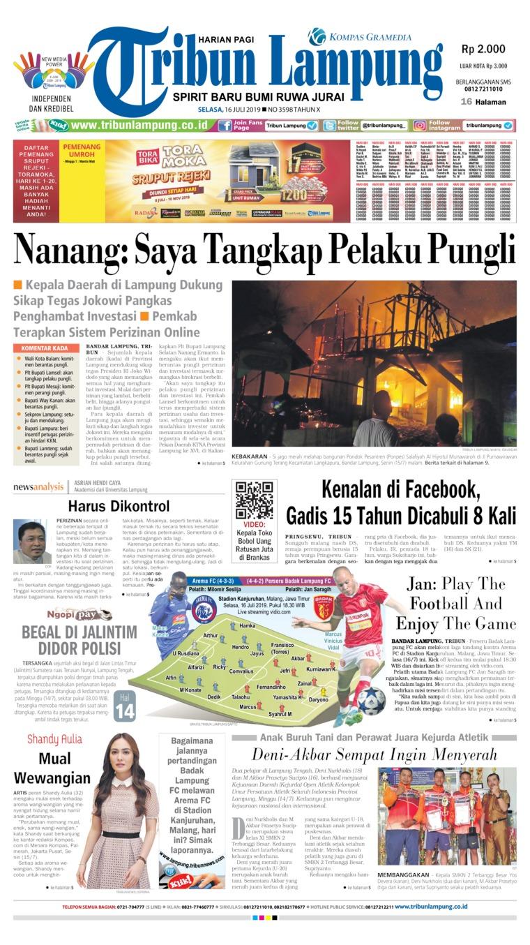 Tribun Lampung Digital Newspaper 16 July 2019