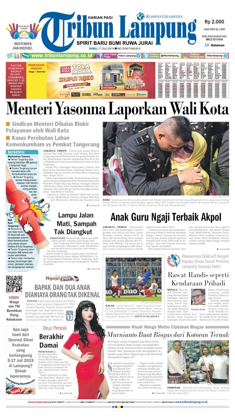 Tribun Lampung Digital Newspaper 17 July 2019