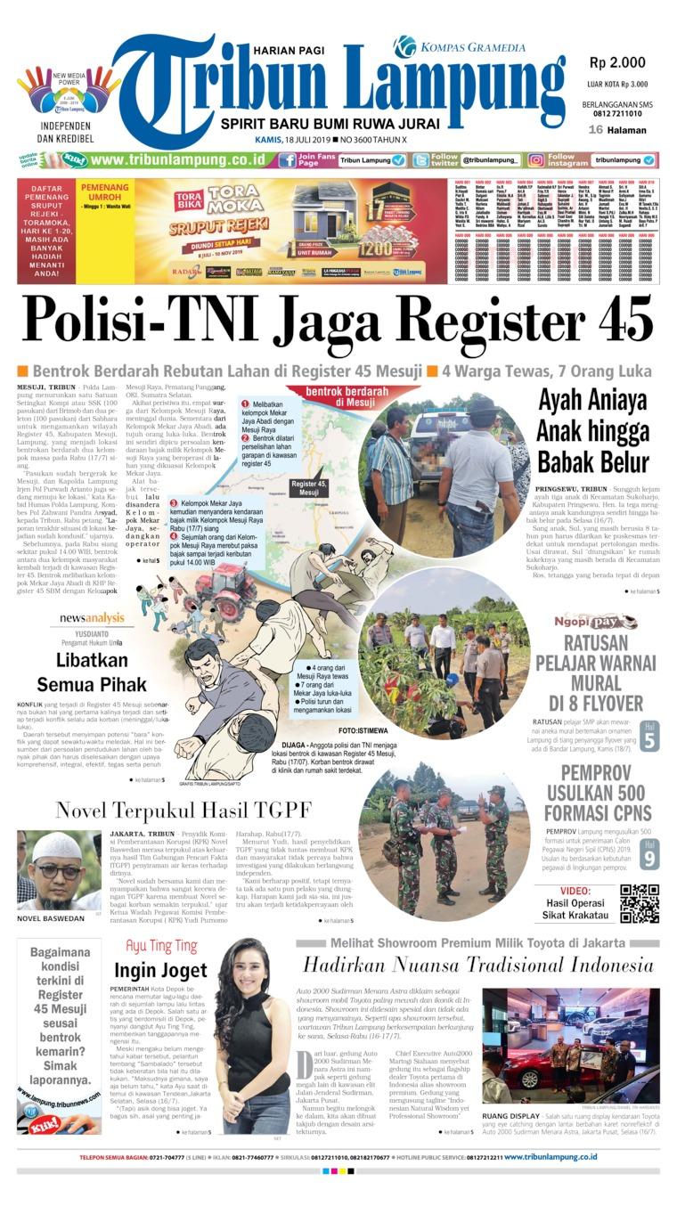 Tribun Lampung Digital Newspaper 18 July 2019