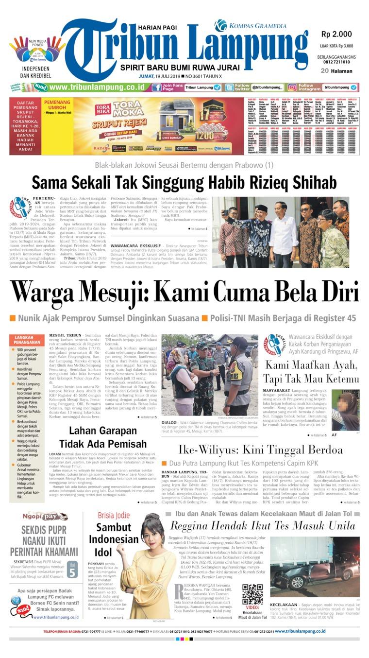 Koran Digital Tribun Lampung 19 Juli 2019
