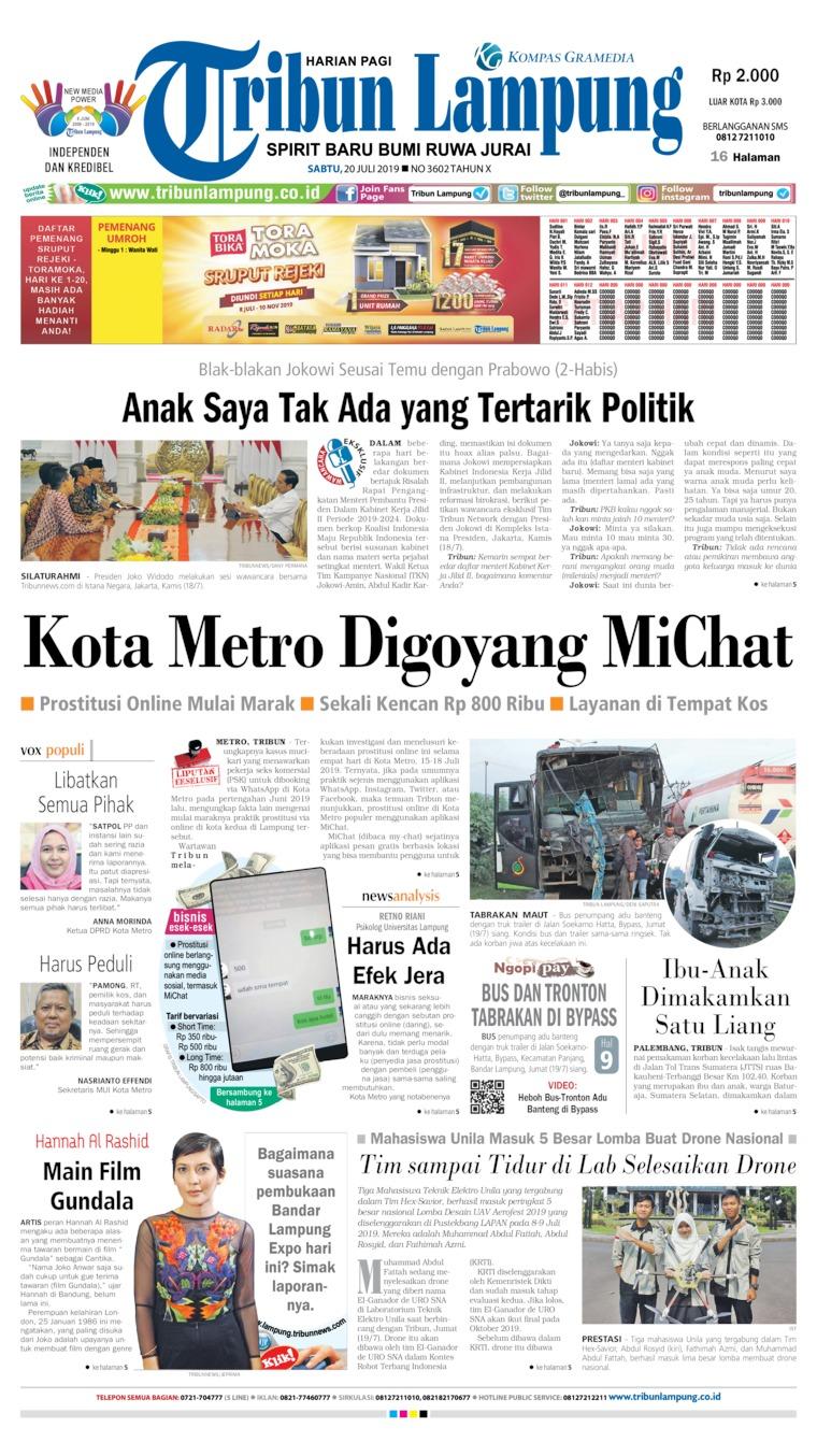 Koran Digital Tribun Lampung 20 Juli 2019