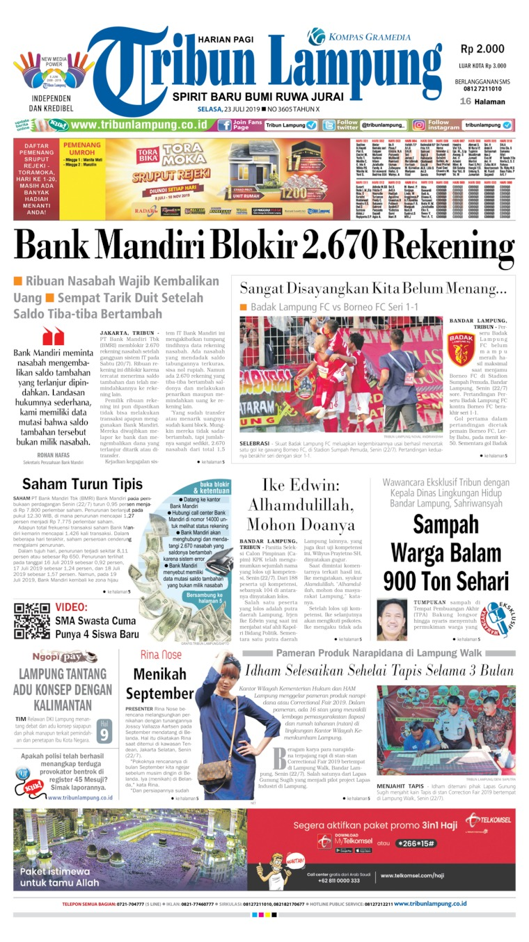 Tribun Lampung Digital Newspaper 23 July 2019