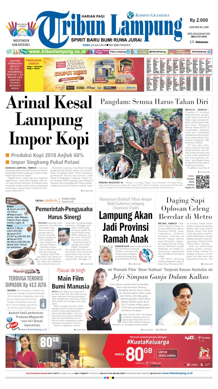Tribun Lampung Digital Newspaper 24 July 2019