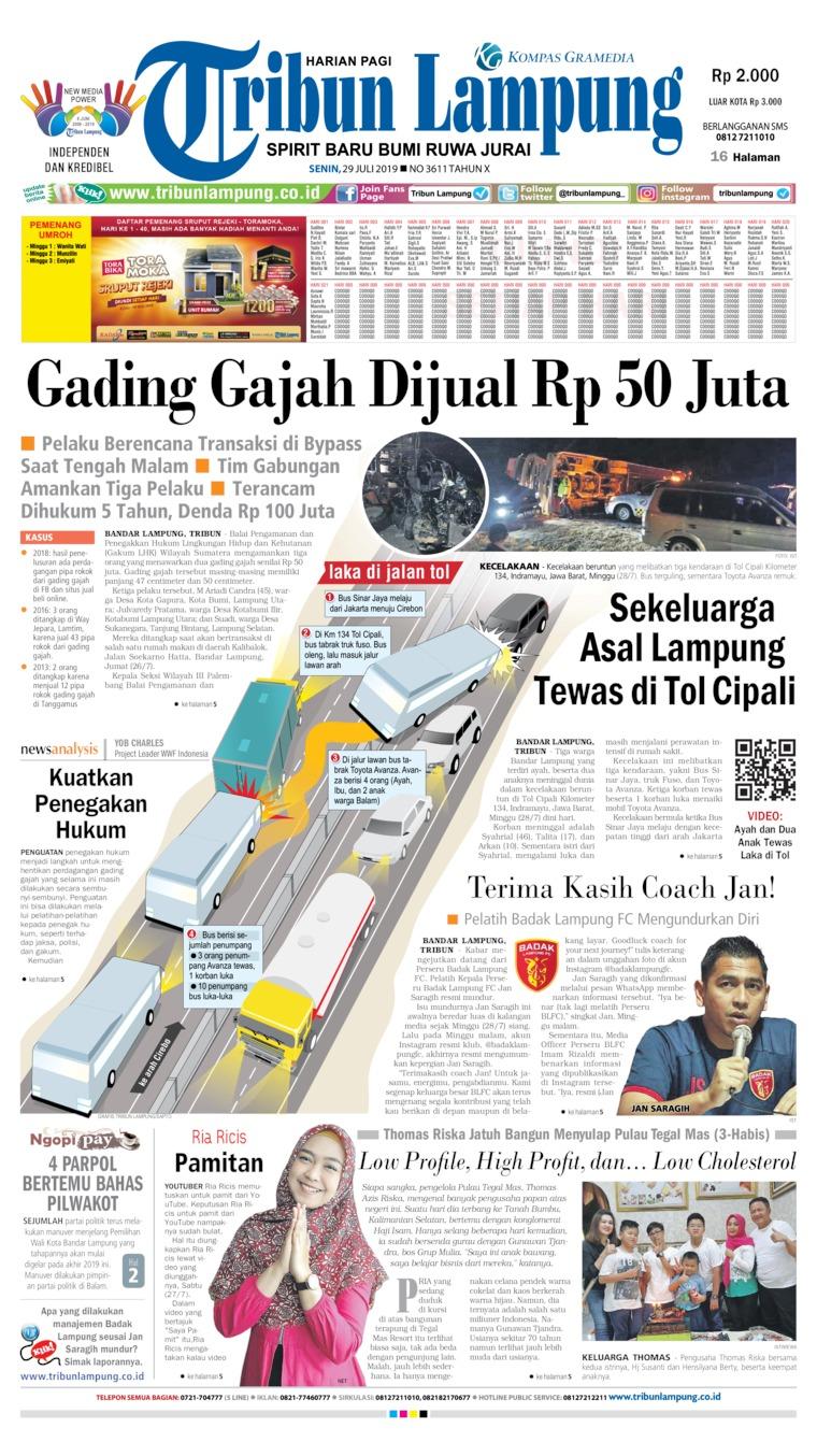 Koran Digital Tribun Lampung 29 Juli 2019
