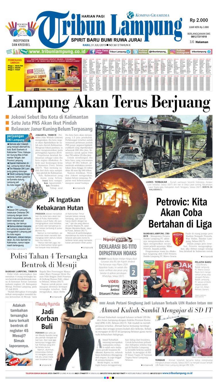 Tribun Lampung Digital Newspaper 31 July 2019