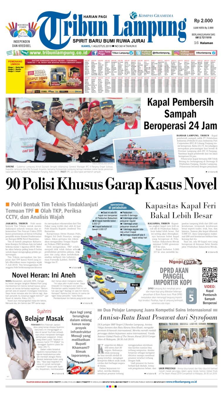 Tribun Lampung Newspaper 01 August 2019 - Gramedia Digital