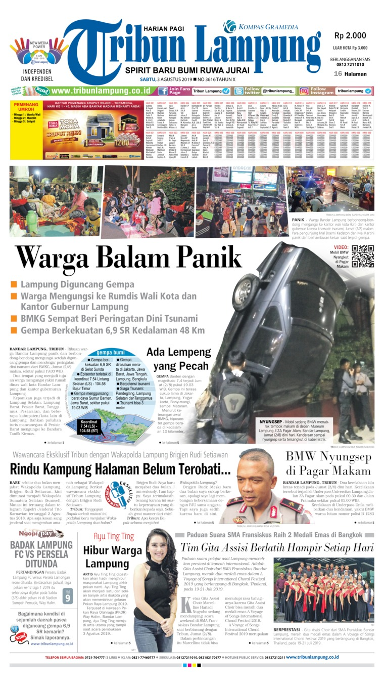 Tribun Lampung Digital Newspaper 03 August 2019