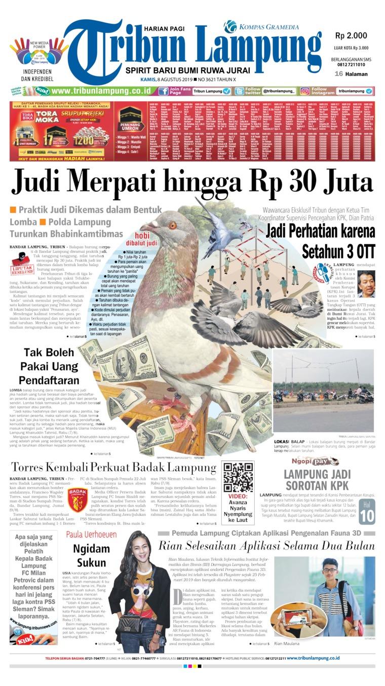 Koran Digital Tribun Lampung 08 Agustus 2019