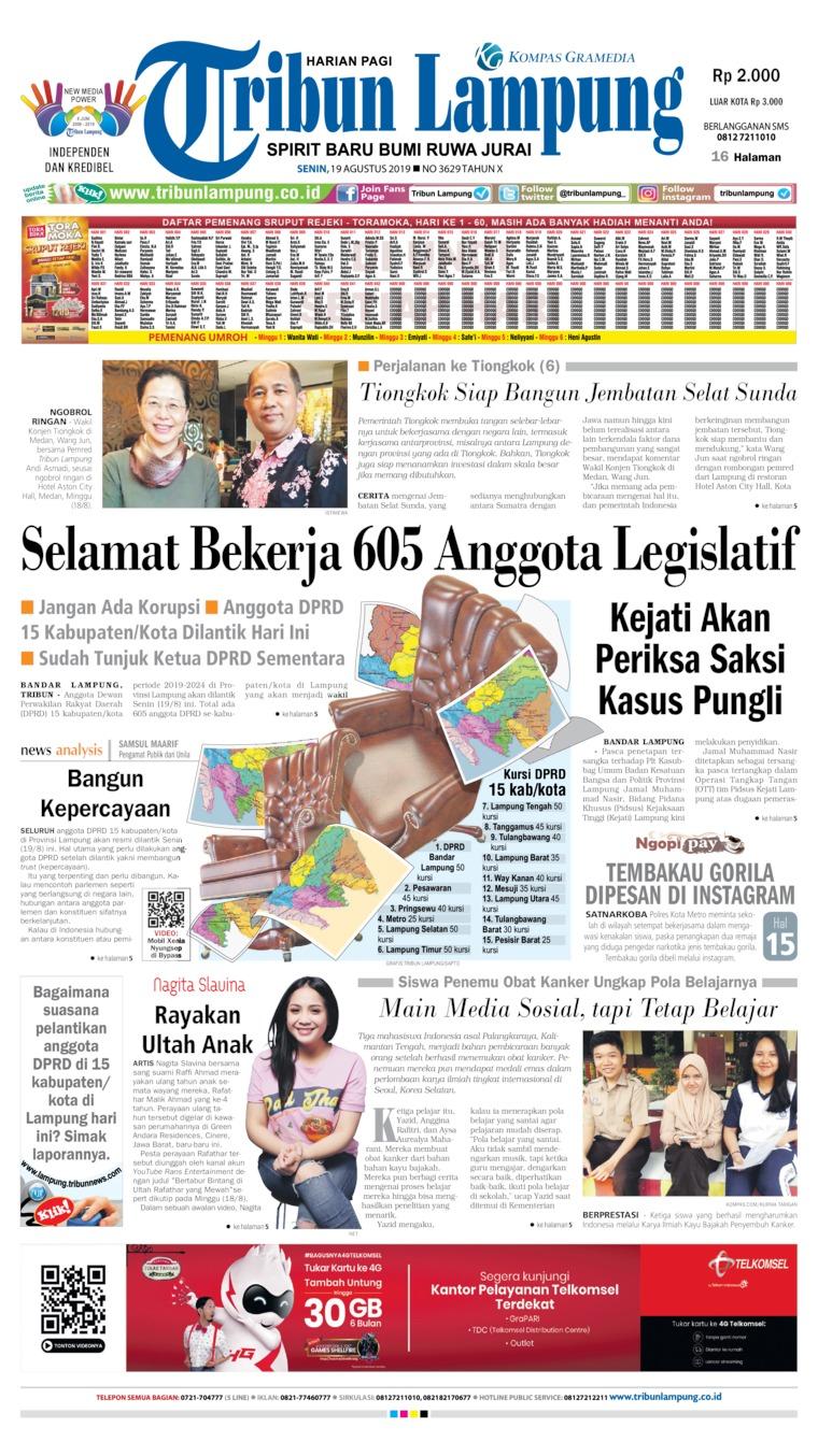 Tribun Lampung Digital Newspaper 19 August 2019