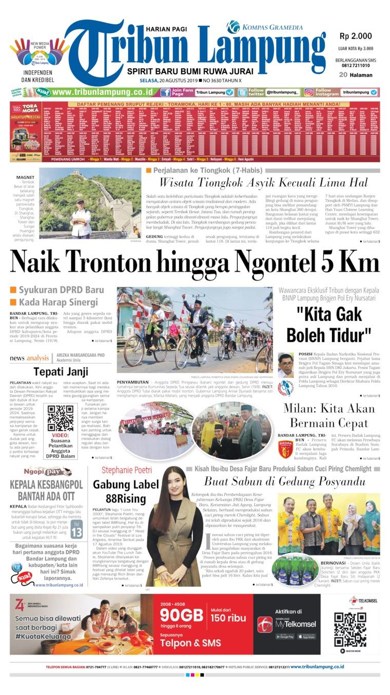 Tribun Lampung Digital Newspaper 20 August 2019