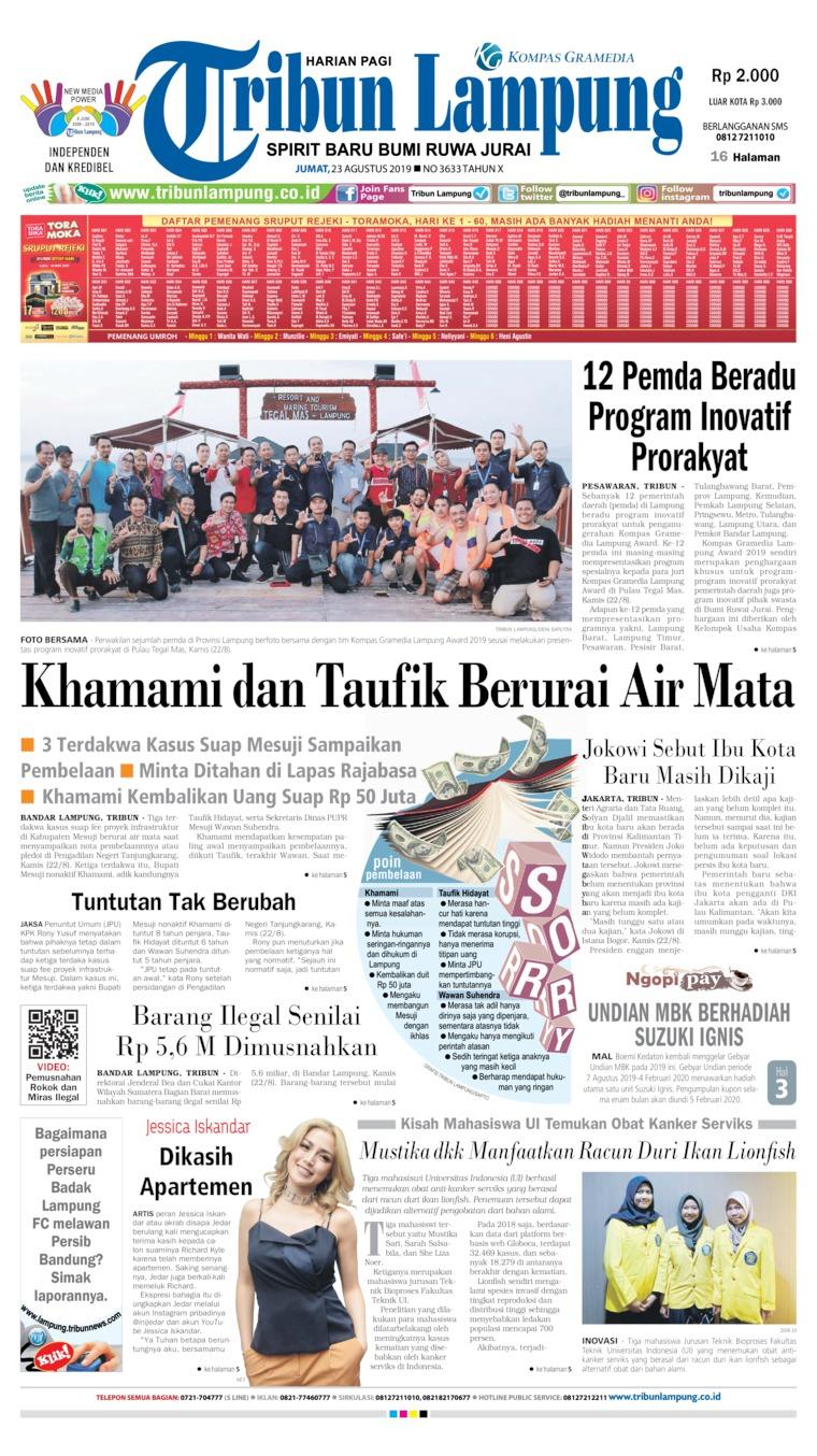 Tribun Lampung Digital Newspaper 23 August 2019