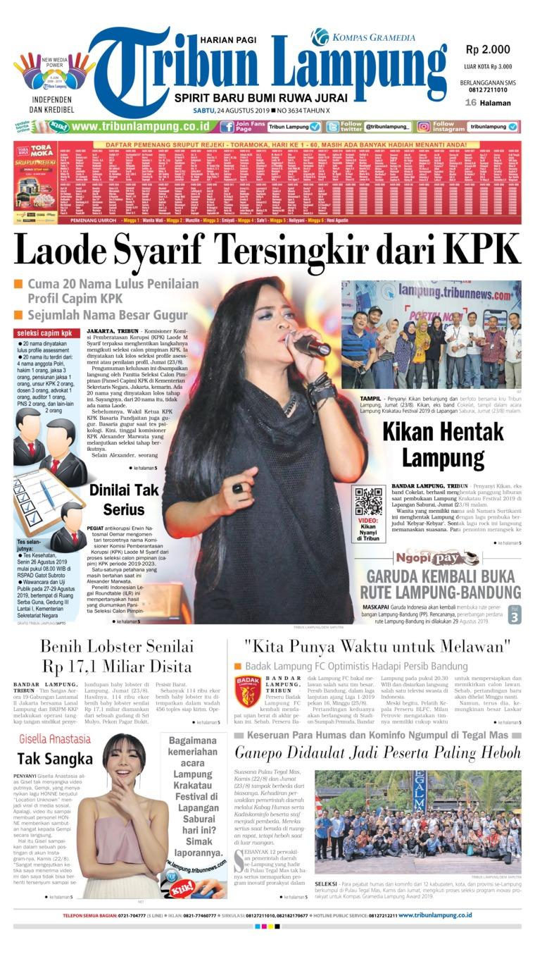 Koran Digital Tribun Lampung 24 Agustus 2019