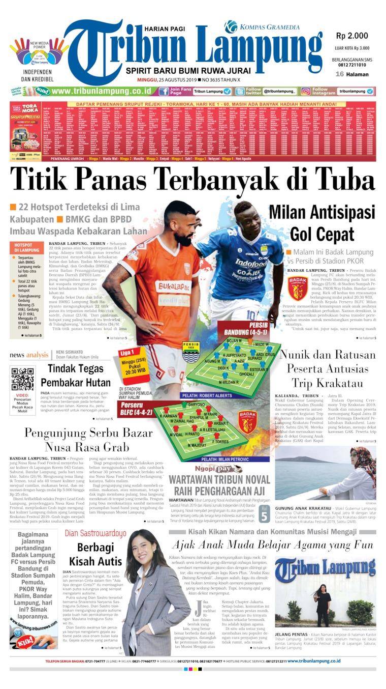 Tribun Lampung Digital Newspaper 25 August 2019