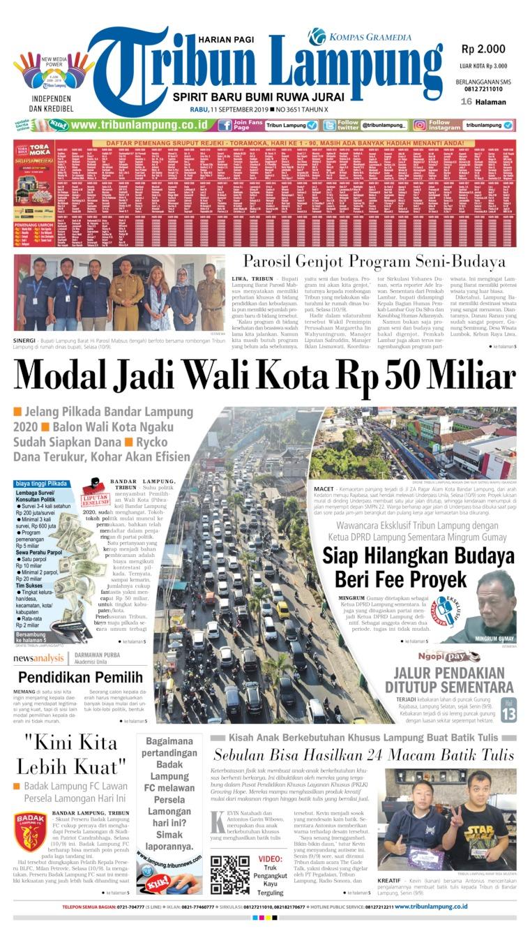 Koran Digital Tribun Lampung 11 September 2019