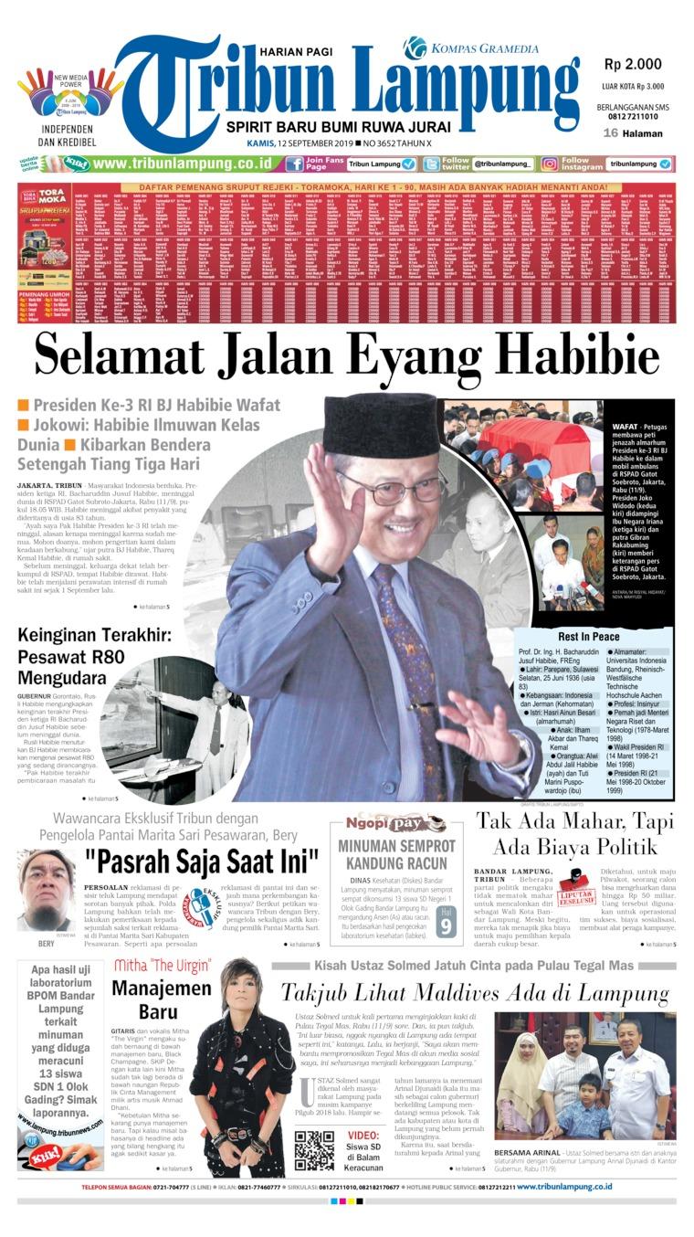 Koran Digital Tribun Lampung 12 September 2019