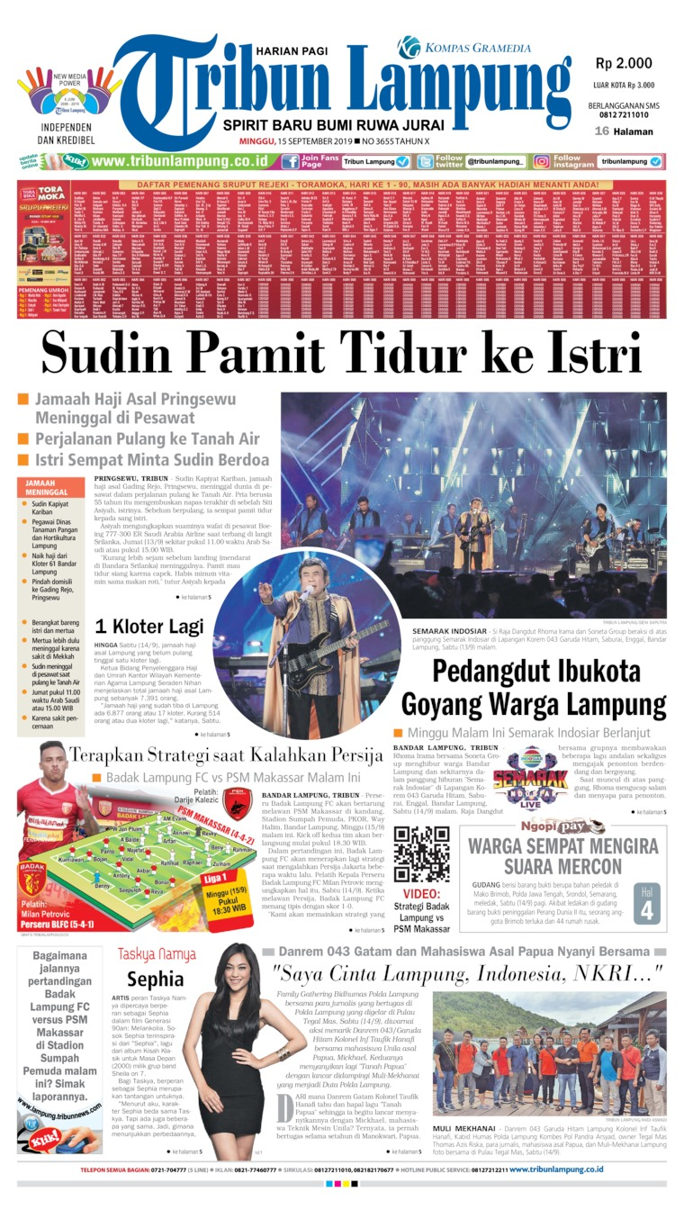 Koran Digital Tribun Lampung 15 September 2019
