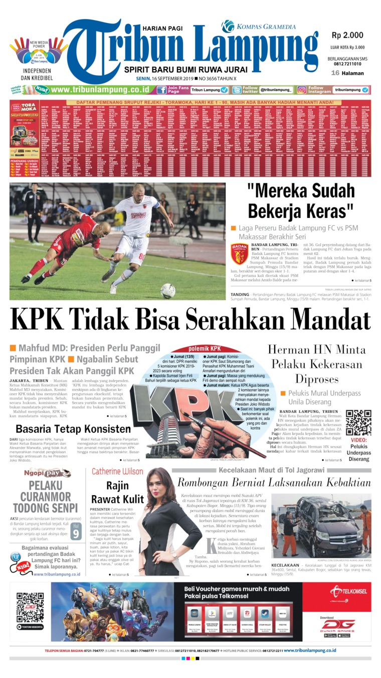 Tribun Lampung Digital Newspaper 16 September 2019