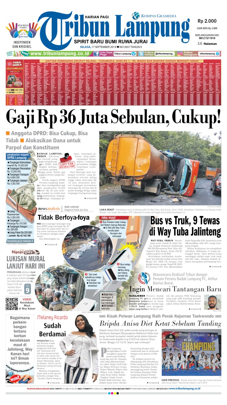 Tribun Lampung Digital Newspaper 17 September 2019