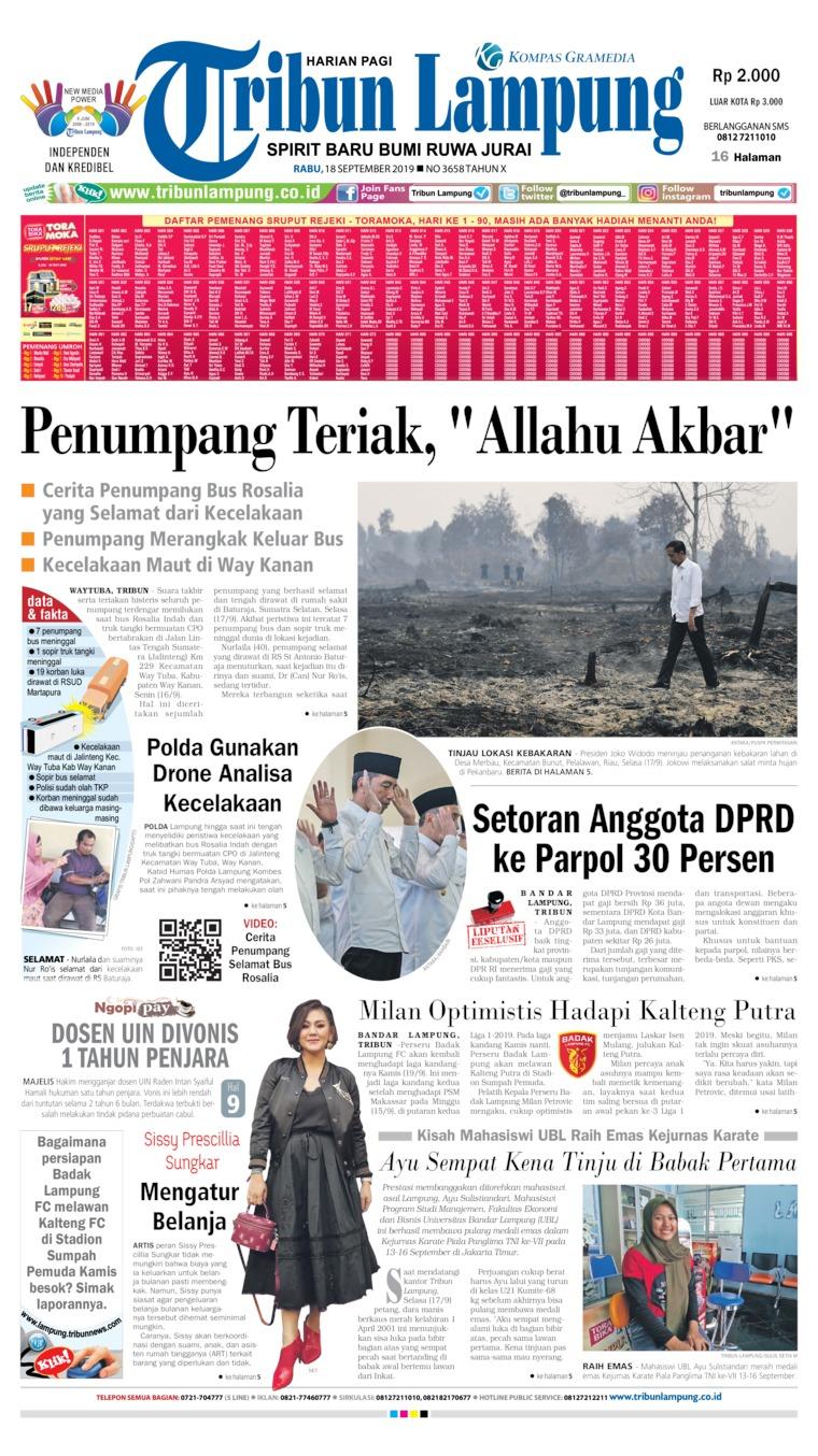 Koran Digital Tribun Lampung 18 September 2019