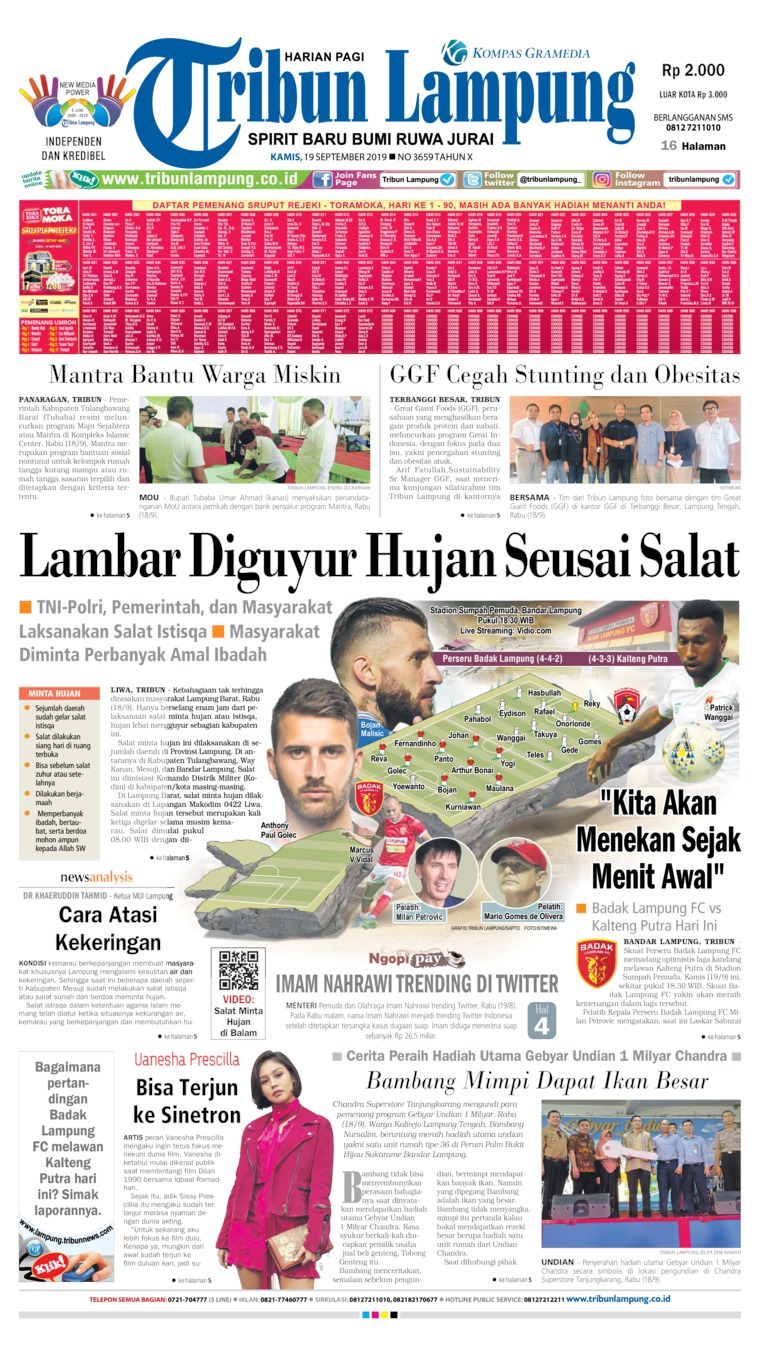 Tribun Lampung Digital Newspaper 19 September 2019