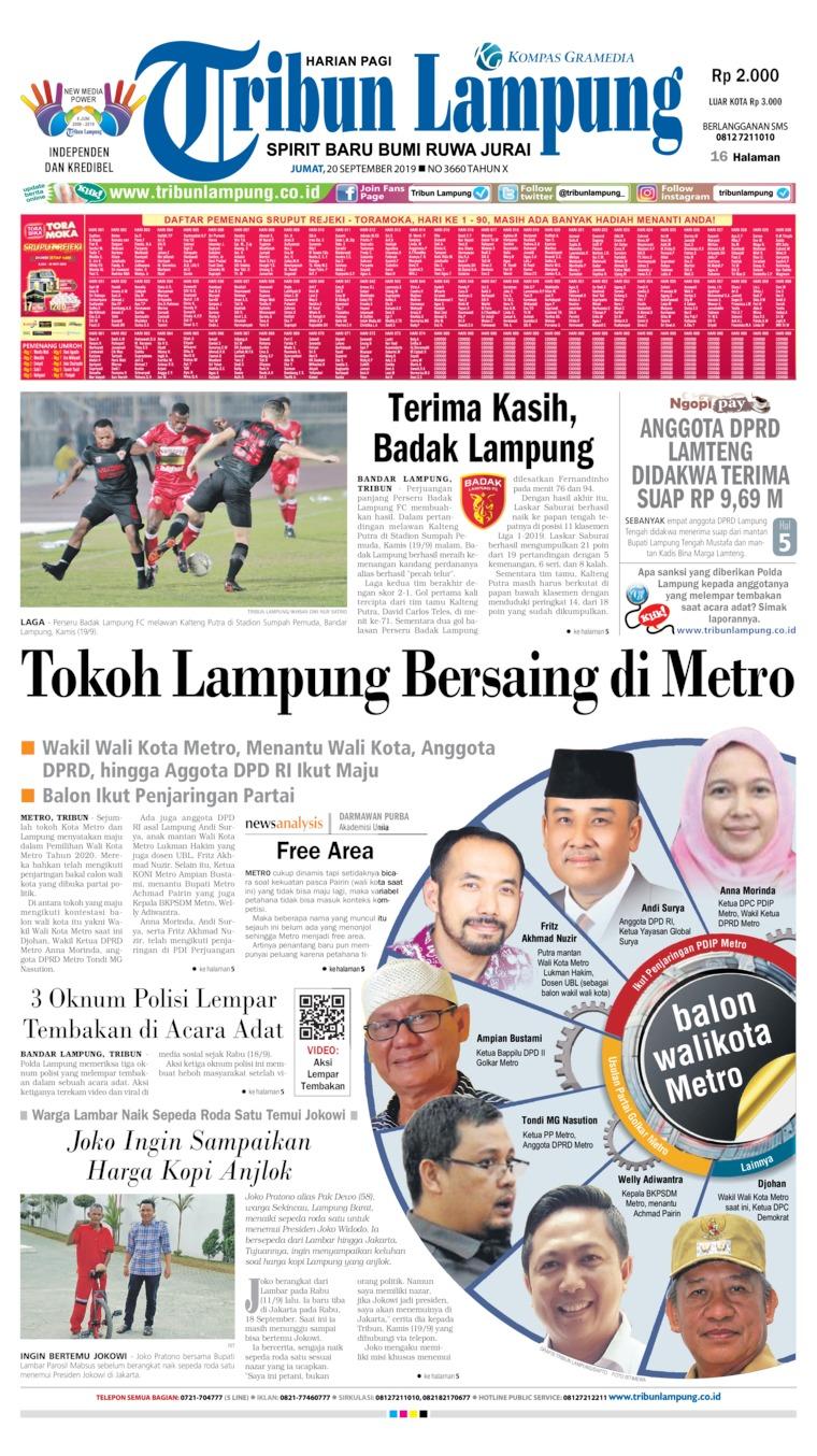 Koran Digital Tribun Lampung 20 September 2019