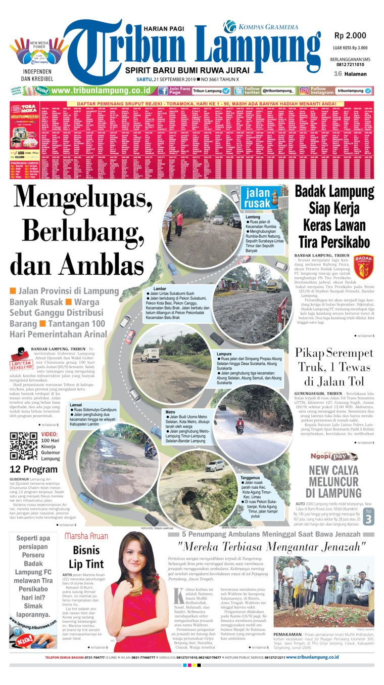 Tribun Lampung Digital Newspaper 21 September 2019