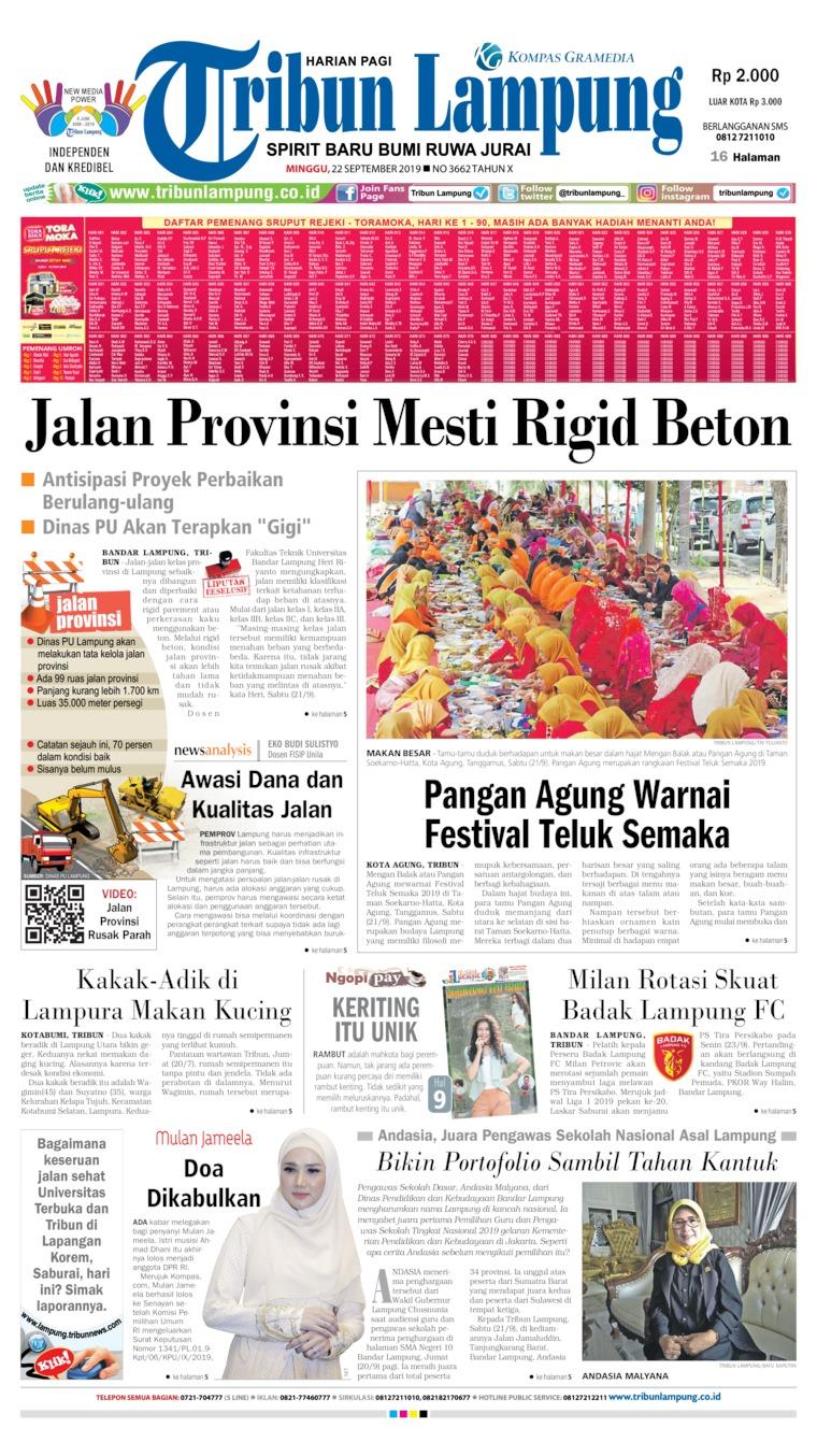Koran Digital Tribun Lampung 22 September 2019
