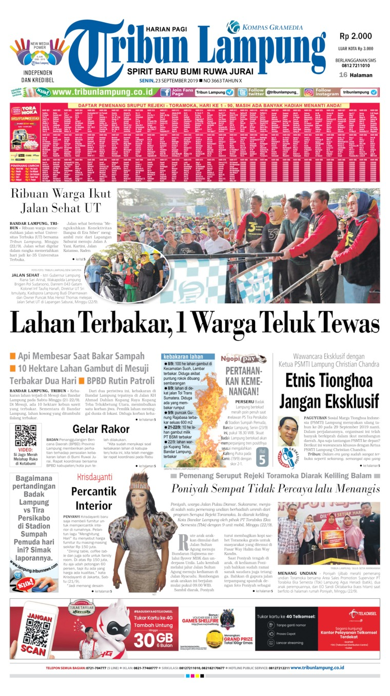 Koran Digital Tribun Lampung 23 September 2019