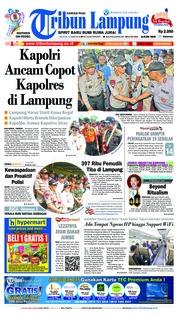 Cover Tribun Lampung 12 Juni 2018