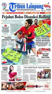 Cover Tribun Lampung 20 Juni 2018