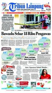 Cover Tribun Lampung 23 Juni 2018