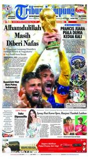 Cover Tribun Lampung 16 Juli 2018