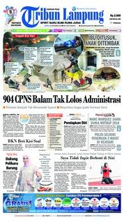 Cover Tribun Lampung 22 Oktober 2018