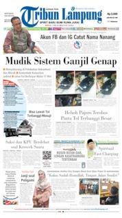 Cover Tribun Lampung 12 Mei 2019