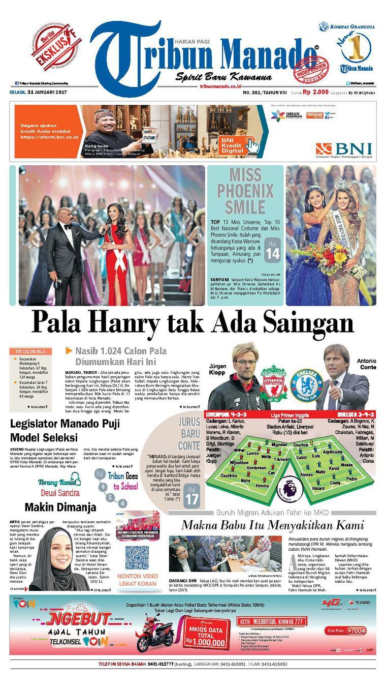 Tribun Manado Newspaper 31 January 2017 - Gramedia Digital