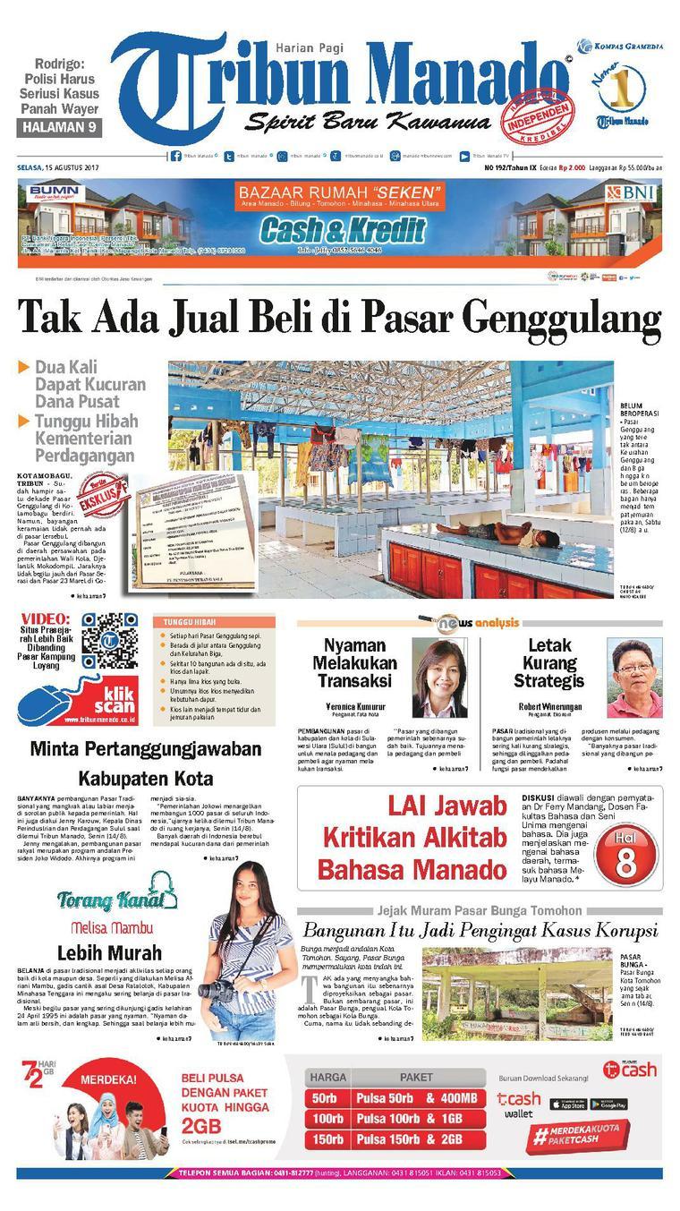 Tribun Manado Newspaper 15 August 2017 - Gramedia Digital