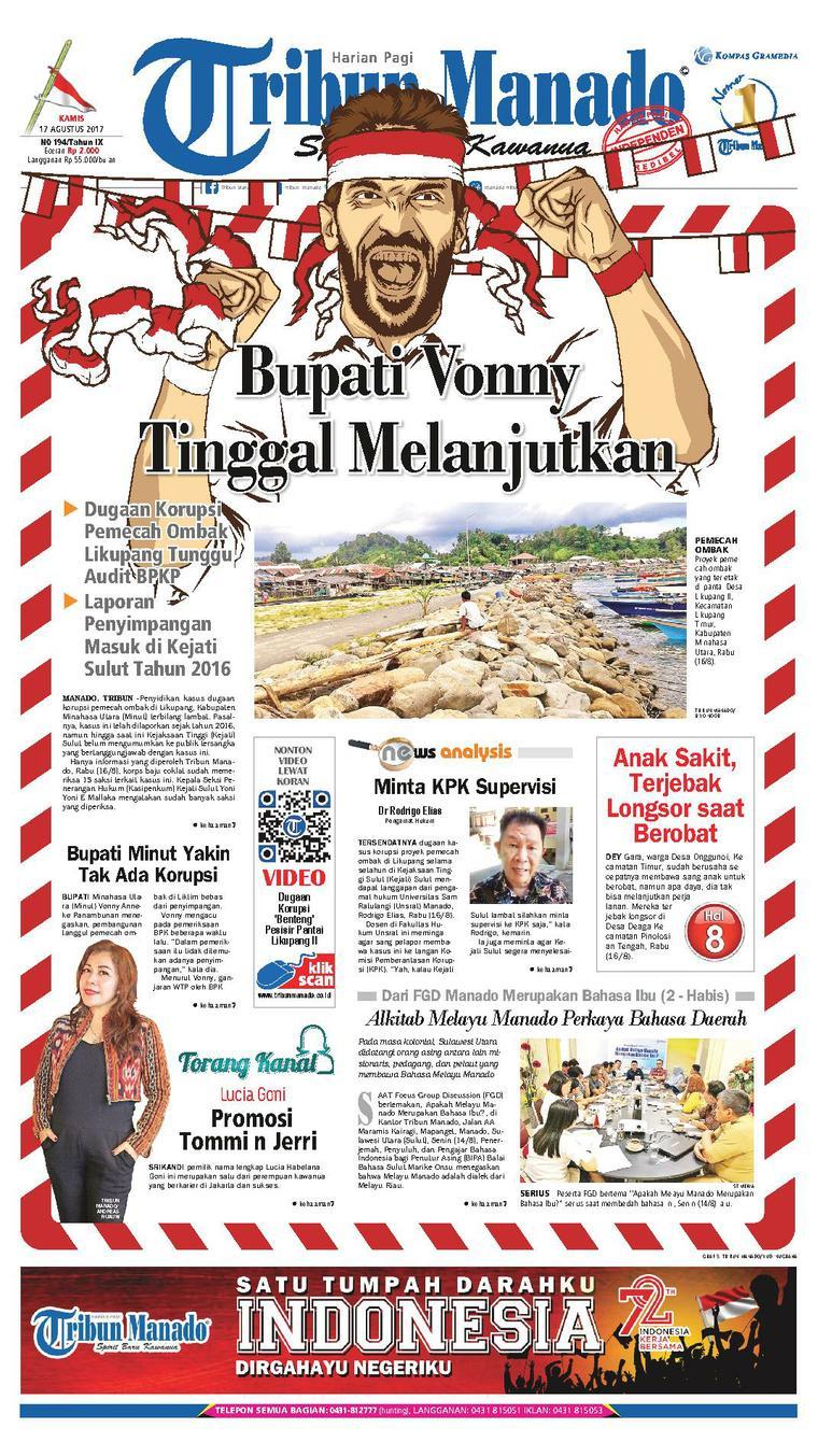 Tribun Manado Newspaper 17 August 2017 - Gramedia Digital