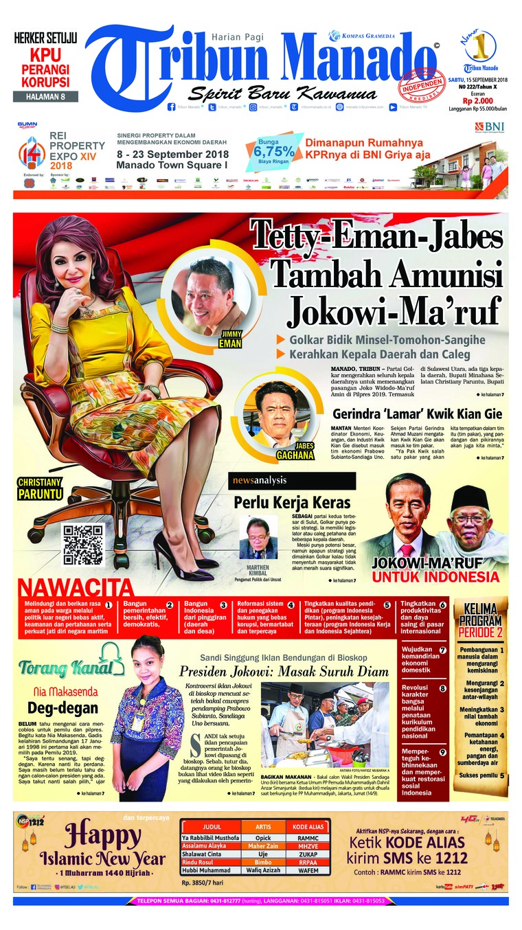 Tribun Manado Newspaper 15 September 2018 Gramedia Digital