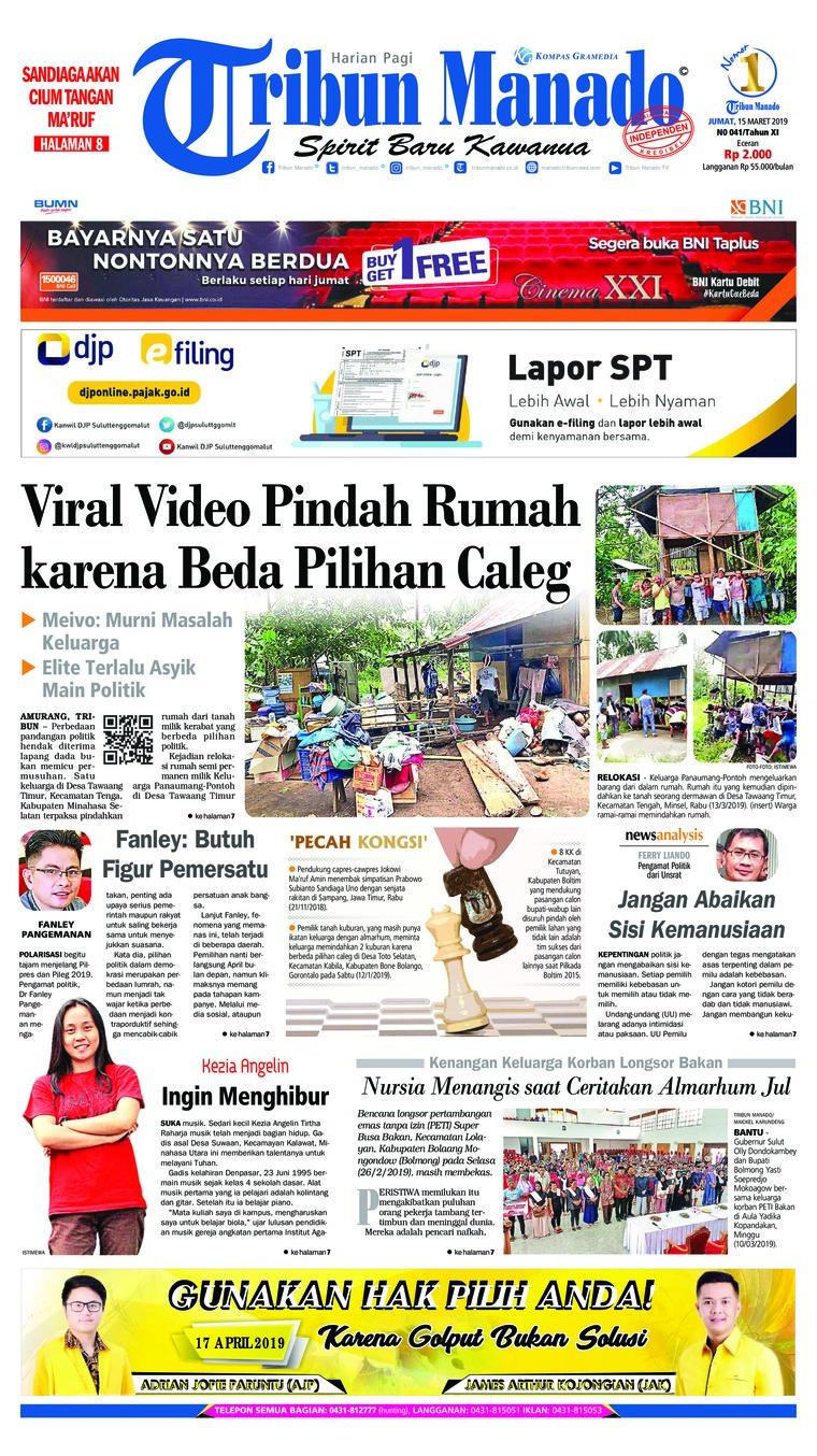 Tribun Manado Newspaper 15 March 2019 - Gramedia Digital