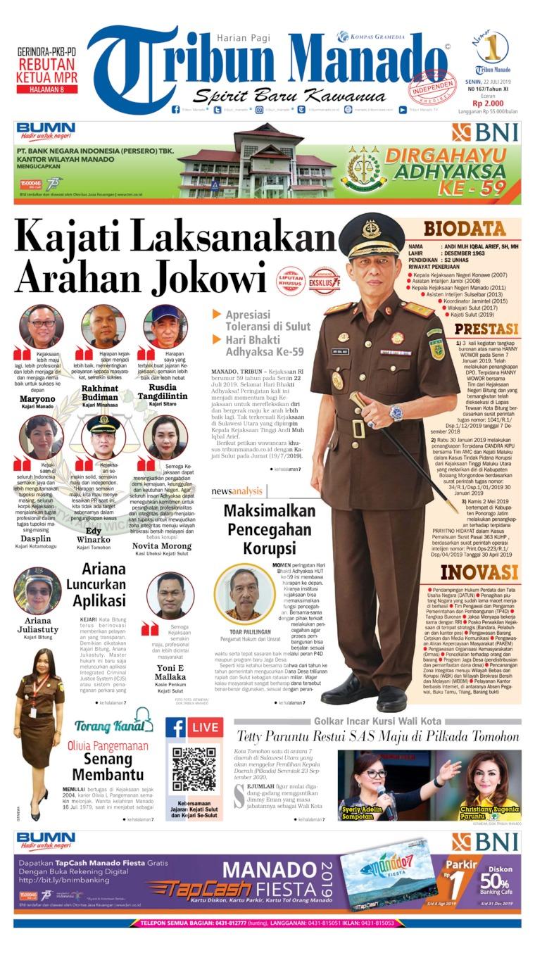 Tribun Manado Digital Newspaper 22 July 2019