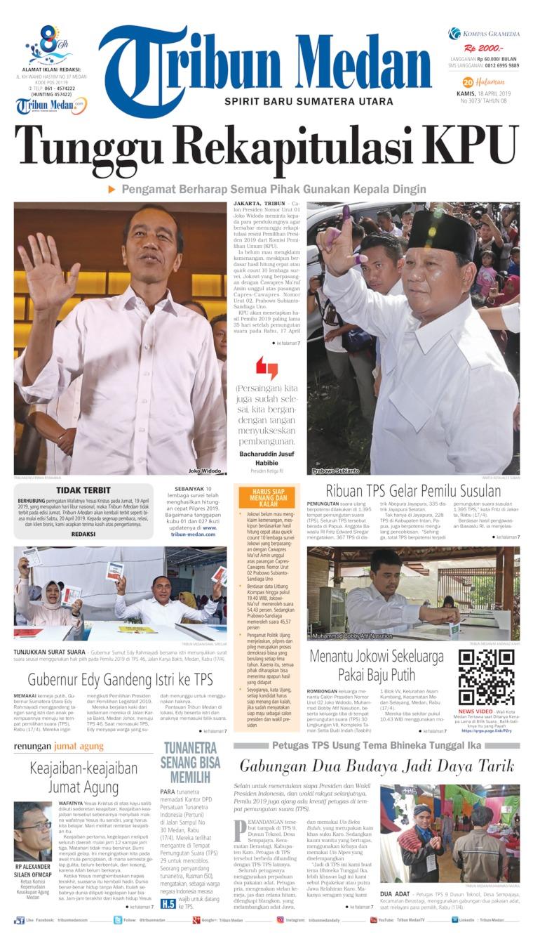Tribun Medan Digital Newspaper 18 April 2019